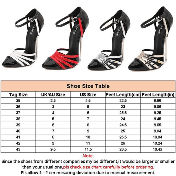 Kvinnors sexiga ankelbälte Pump sandaler högklackad spetsig tå Silver 41