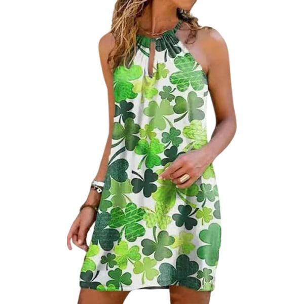 Kvinnors sexiga halter tryckt klänning Holiday Beach klänning grön L
