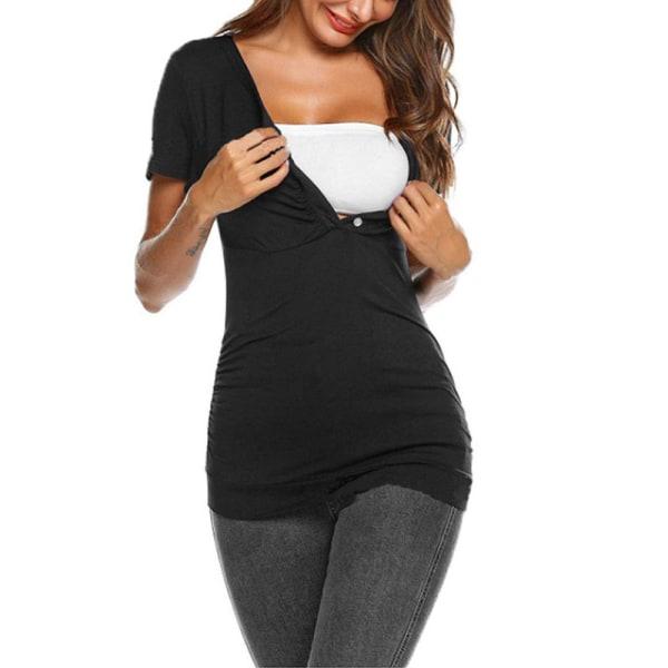 Kvinnors sommar kort ärm T-shirt för omvårdnadssjuksköterska svart M