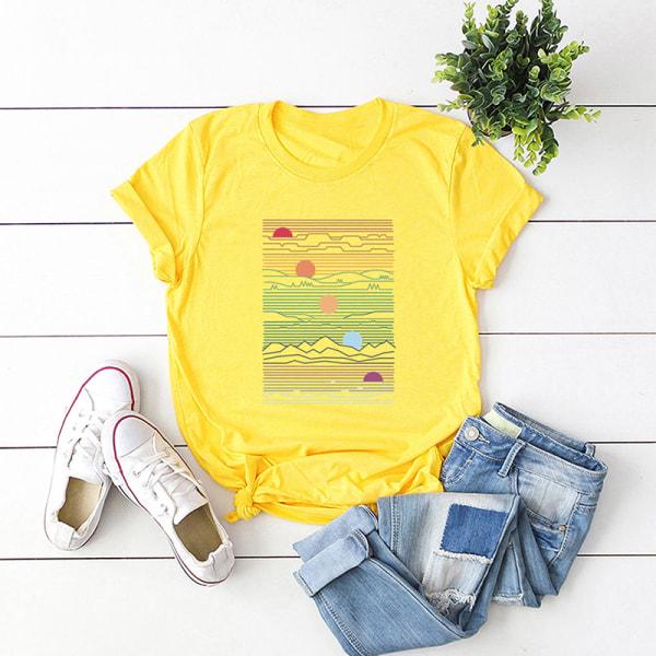 Kvinnors sommar kortärmad bas-t-shirt lös tröja gul 5XL