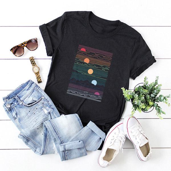 Kvinnors sommar kortärmad bas-t-shirt lös tröja svart L