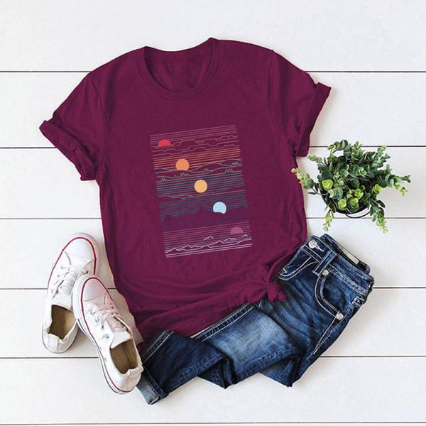 Kvinnors sommar kortärmad bas-t-shirt lös tröja Vin, röd 5XL