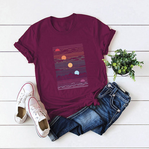 Kvinnors sommar kortärmad bas-t-shirt lös tröja Vin, röd XXL