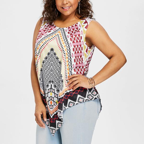 Kvinnors sommar oregelbundna ärmlös väst lös tröja Färgrik XL