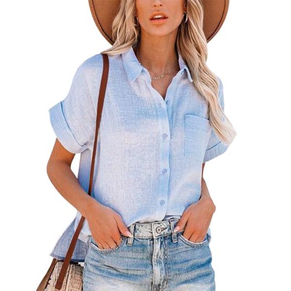 Kvinnors sommarskjorta casual kortärmad topp-t-shirt Ljusblå L