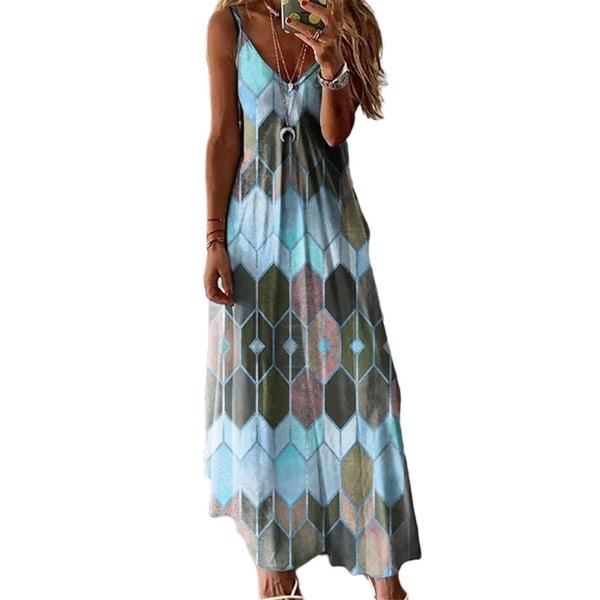 Kvinnors sommarsling lång kjol Casual strand kjol klänning Shirt Himmelsblå 4XL