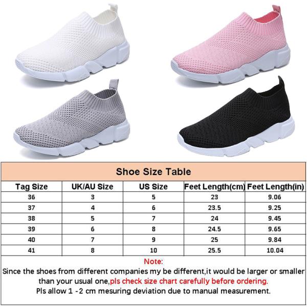 Kvinnors sports casual skor som flyger vävda meshskor lätt Vit 40