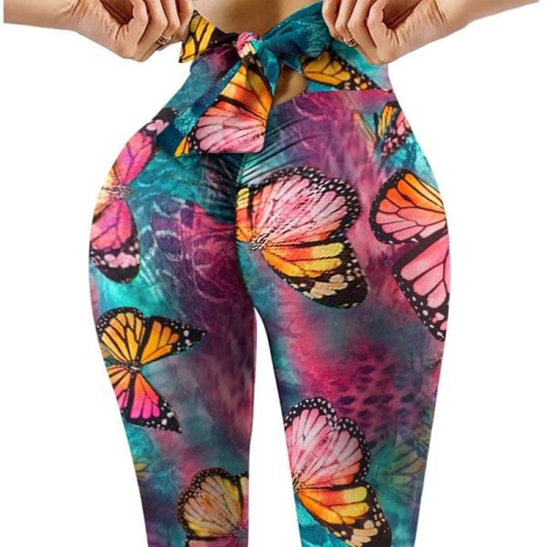Kvinnors Tryckta Yoga Leggings Byxor Hip Push Up Fitness Färg Fjäril M