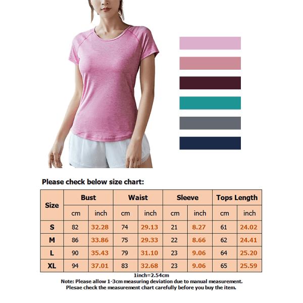Kvinnors Yoga T-Shirts Toppar Blusskjorta Träning Snabbtorkande Jujube Red S