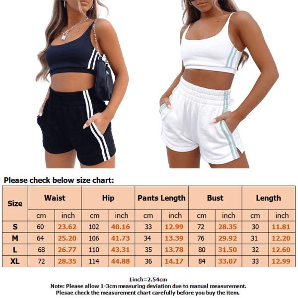 Kvinnors Yogabh-Väst Heta Byxor Shorts Set Fitness Workout Svart XL