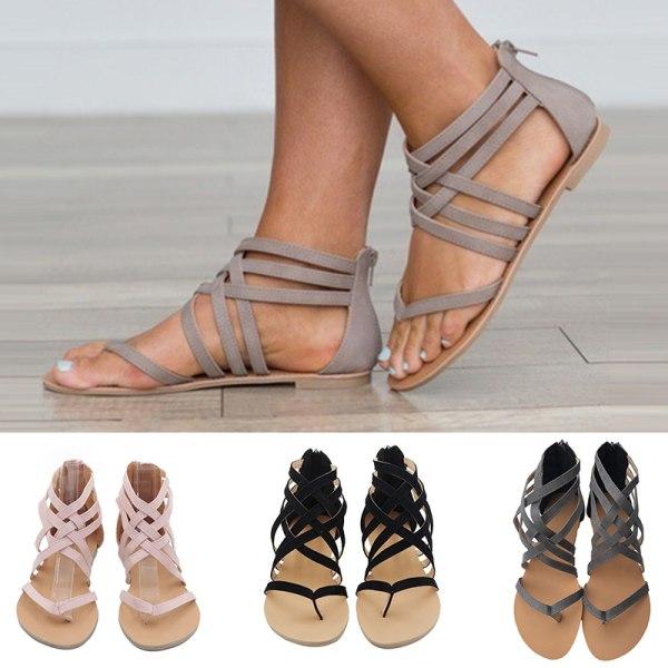 Ladies Lace Gladiator Sandaler Thong Tofflor Flats Grå 38