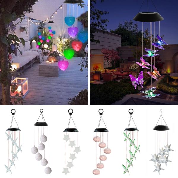 LED Solvind Chimes Ljus Hängande utomhus trädgårdslampor dekor Fjäril