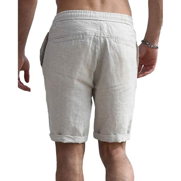 Män Bomullslinne Shorts Dragsko Sommar Loose Beach Bag Byxor beige M