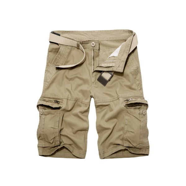 Män Enfärgade shorts Andningsoveraller Overallerströjor Kaki 33