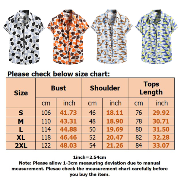 Män kortärmad hawaiisk skjorta Casual Beach Floral Loose Shirt Orange M