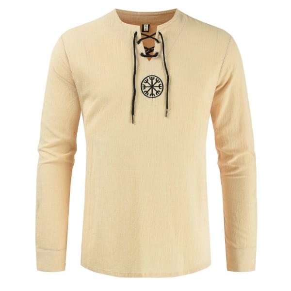 Män Långärmad T-Shirt I Bomull Och Linne Tillfällig Henryskjorta Off White M