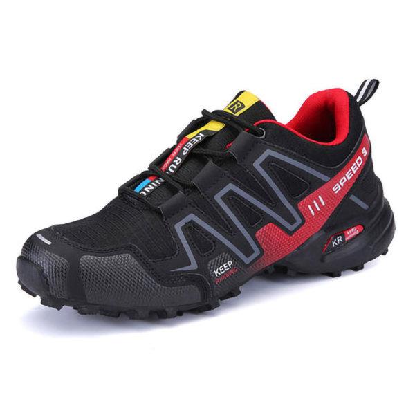 Mäns avslappnade mode andningsbara löparskor vandringsskor svart 42