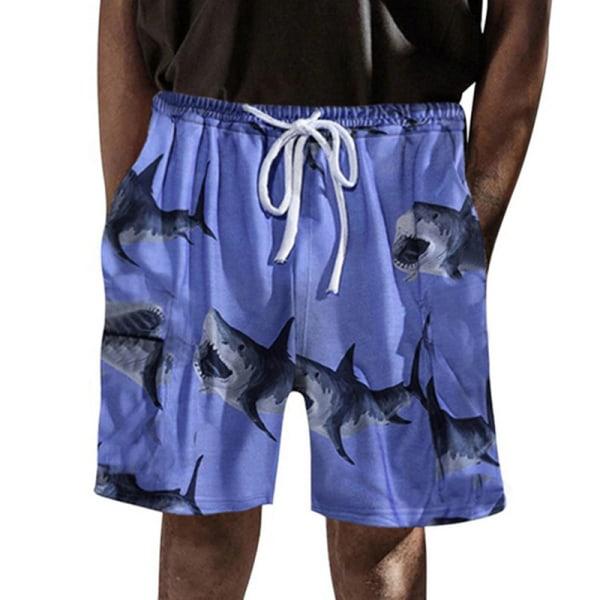 Mäns Blommig Avslappnad Strand Kort Elastisk Dragsko Shorts blå L