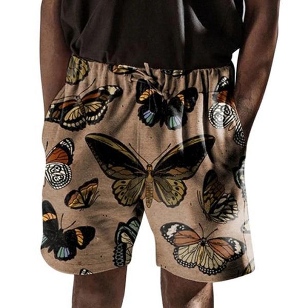 Mäns Blommig Avslappnad Strand Kort Elastisk Dragsko Shorts kaki XL