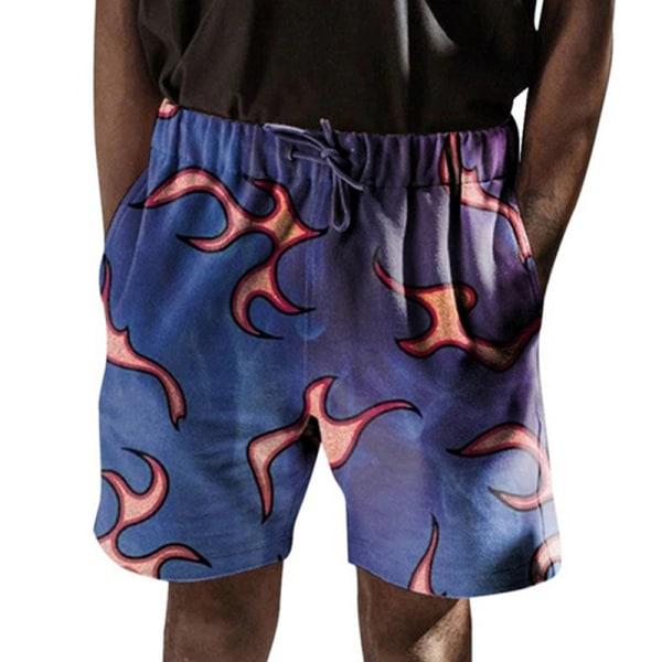 Mäns Blommig Avslappnad Strand Kort Elastisk Dragsko Shorts marinblå L