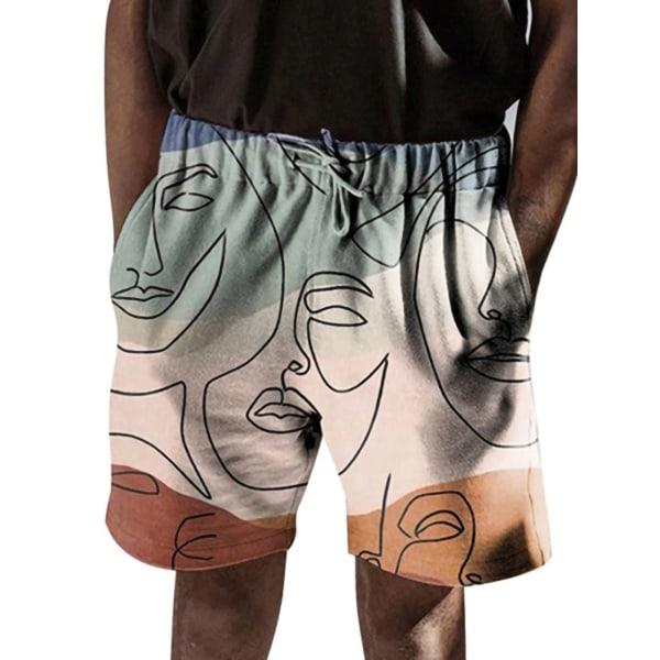 Mäns Blommig Avslappnad Strand Kort Elastisk Dragsko Shorts rosa S