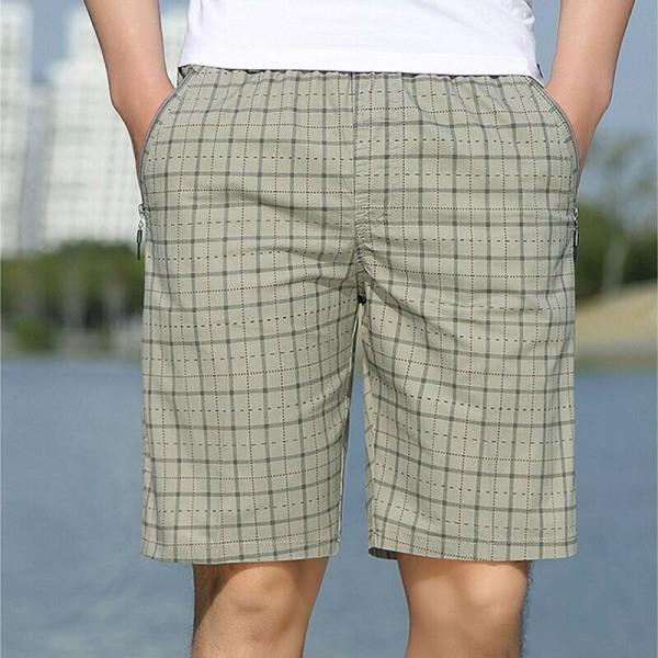 Mäns Casual Stripe Shorts Fickor Dragband Athleisure Byxor kaki 4XL