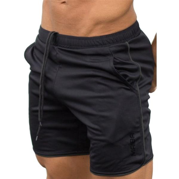 Mäns Fitness Sports Jogging Shorts Fotboll Byxor Gym Löpning Black XXL