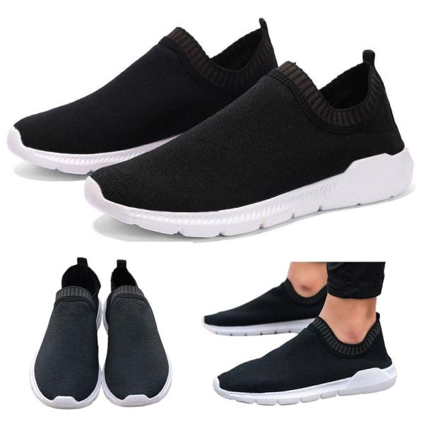 Mäns mode mesh sneakers utomhus fitness skor andas casual skor Svart 43