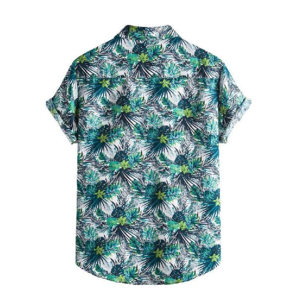 Mäns tryckt skjorta Casual Beach T-shirt kortärmad Grön 3XL