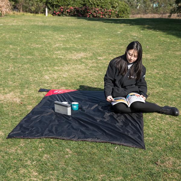 Markduk Silikonbelagd campingskydd Picknickmatta Pad Tarp Svart S