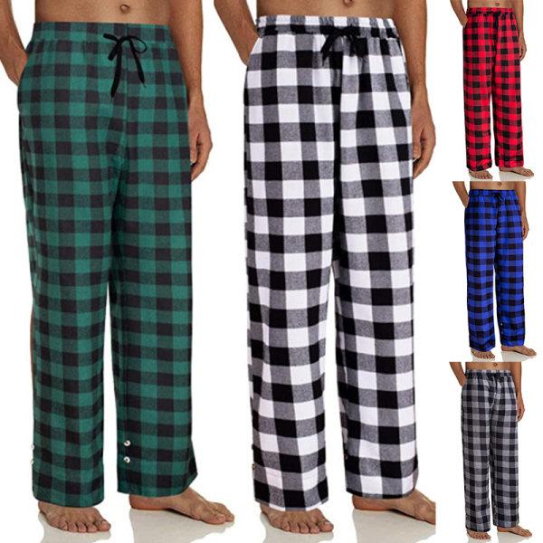 Mens pyjamasbyxor För Män Loungewear Byxor Sömnkläder Bottoms Röd M