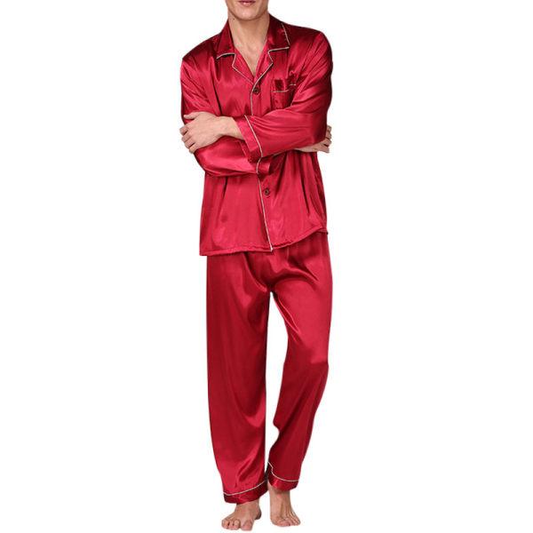 Mens Silk Satin Pyjamas Långärmad Nattkläder Pojke Lounge Sets Röd XL