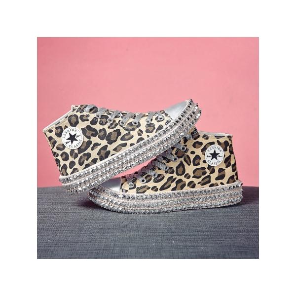 Platåskor för kvinnor med snörning i casual skor Leopard hög topp 41