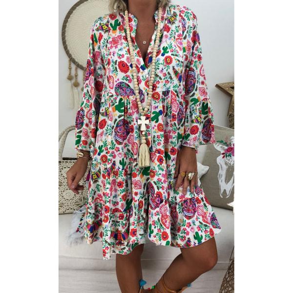 Plus Size Women Stand-Up Krage Button Ruffle Dress Beach Dress Vit 4XL