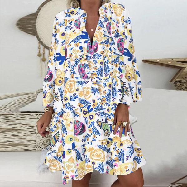 Plus Size Women Stand-Up Krage Button Ruffle Dress Beach Dress Vit gul M