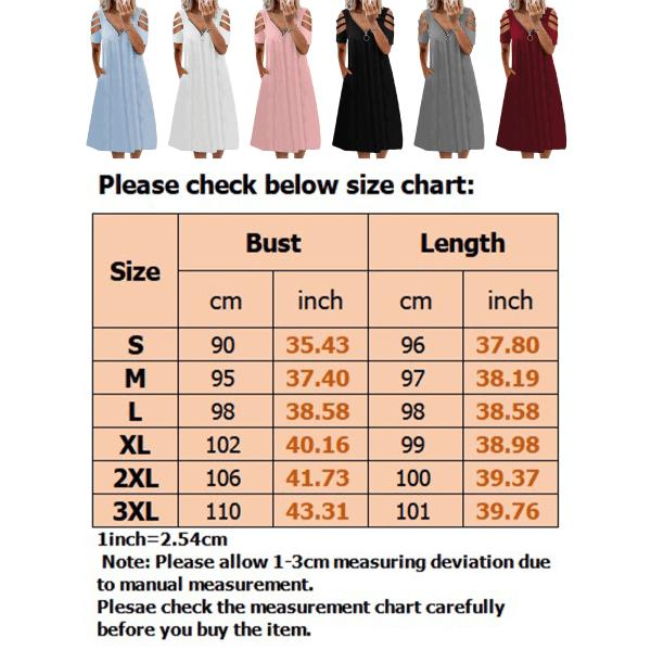 Plus Size Women Summer Cold Shoulder Midi Dress Swing Dress Ljusblå L