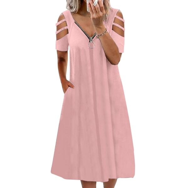 Plus Size Women Summer Cold Shoulder Midi Dress Swing Dress rosa XXL