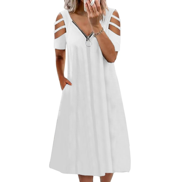 Plus Size Women Summer Cold Shoulder Midi Dress Swing Dress Vit 3XL