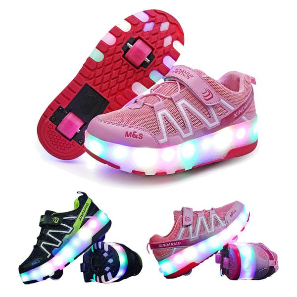 Pojkar och flickor LED-ljus rullskridskor mode rullskor Svart 32