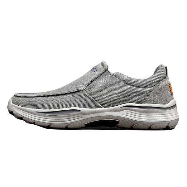 Pumps canvasskor för män fashionabla och bekväma loafers Grå 42