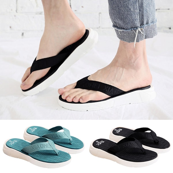Sandaler för platta flip-flops för män och kvinnor Svart 41