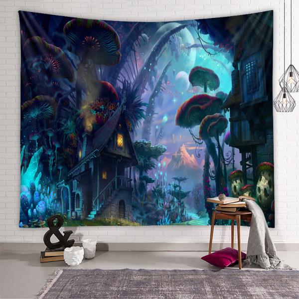 Skog Bohemiska Hängande filtar Affischmatta hem konst dekor Svamphus 150x200cm