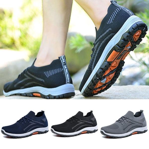 Slip-on-sneakers för män halkfria casualskor löparskor Svart 43