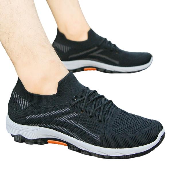 Slip-on-sneakers för män halkfria casualskor löparskor Svart 39