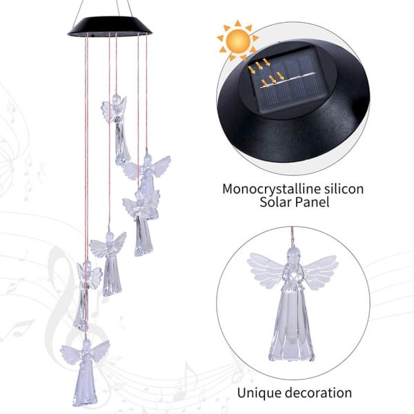 Sol Ängel Vindspel LED-färgskiftande innergårdsdekoration Transparent
