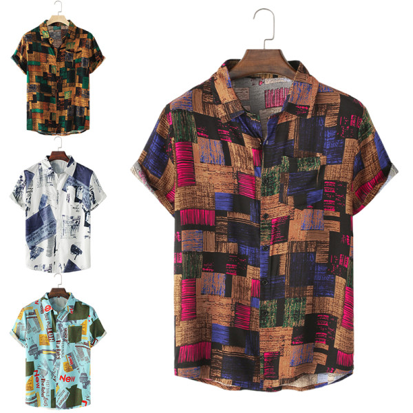 Sommar kortärmad skjorta herr löst jacka topptröja Rosröd XL