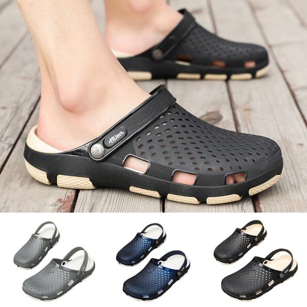 Tofflor för män avslappnade strandskor simning tofflor sandaler Grå 45