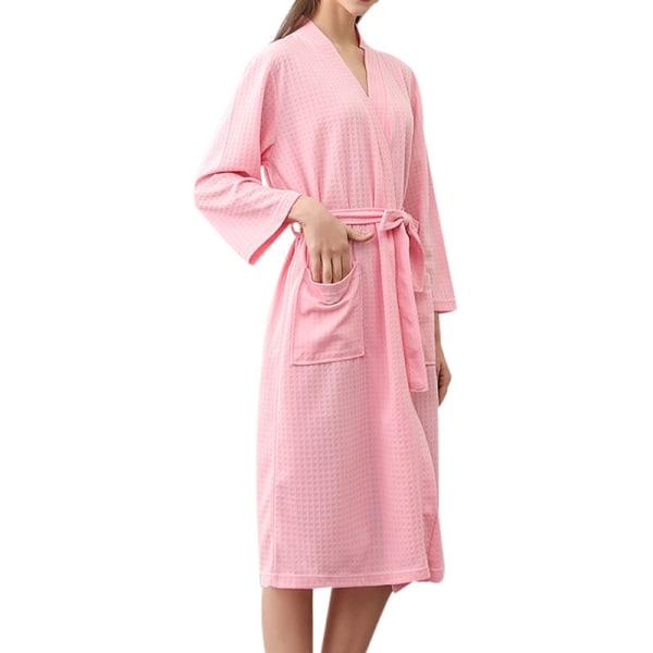 Unisex-Par V-Halsrockar Robes Badrock Långärmad Våffla Homewear Rosa XL
