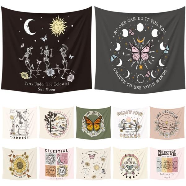 Vägg Gobeläng Bohemiska Kasta hängande filtar hem konst dekor Rosa solmåne 73x95cm