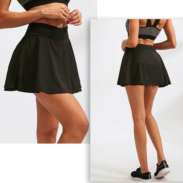 Veckad tenniskjol för damer med shorts som kör kort kjol svart XXL